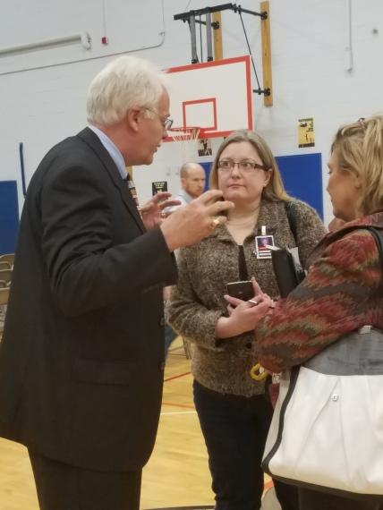 R. Larry Smith with School Board members Jennifer Owen and Patti Bounds