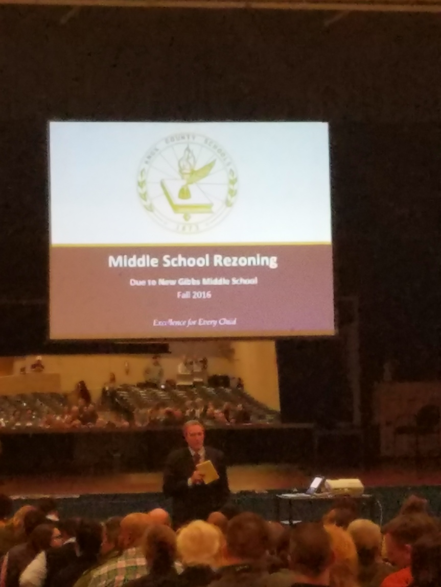 Rezoning meeting at Holston Middle School